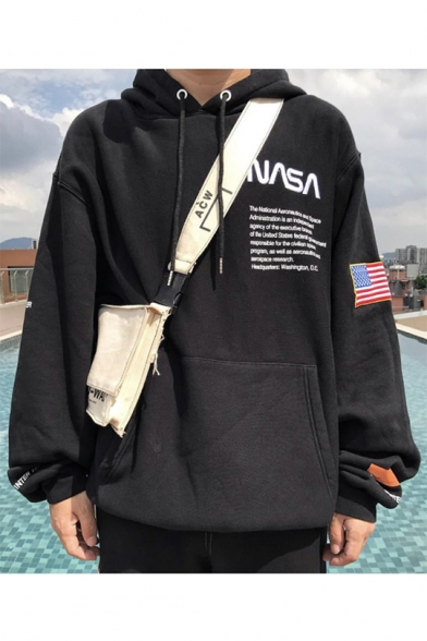 Unique NASA Letter Embroidered Long Sleeve Loose Fitted Hoodie