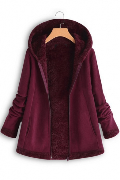 Winter's Long Sleeve Hooded Zip Up Mohair Coat for Women