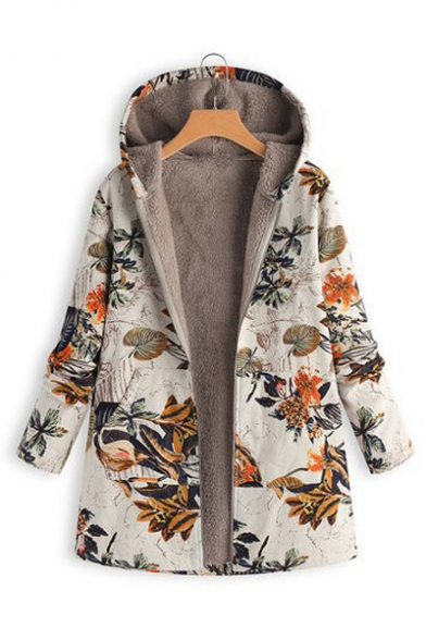Winter's New Trendy Floral Printed Long Sleeve Hooded Longline Zip Up Cotton Coat