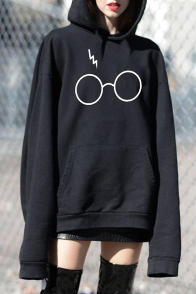 Winter's Trendy Eyeglasses Printed Long Sleeve Casual Loose Hoodie