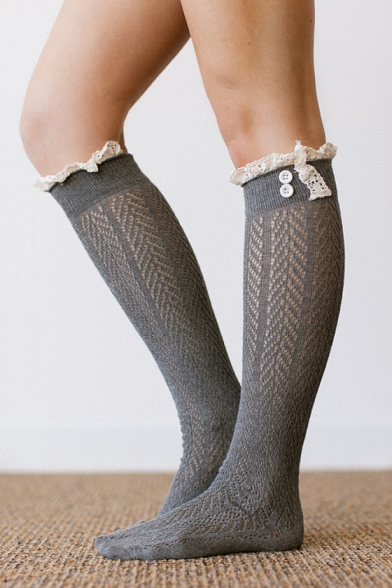 Women's Unique Lace-Trimmed Button Embellished Hollow Out Pile Stockings