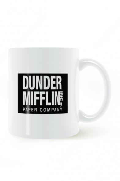 Black and White Letter DUNDER MIFFLIN WORLD'S BEST BOSS Printed Ceramic Mug 8.2*9.6cm