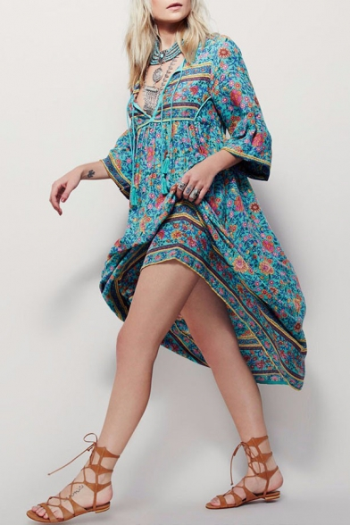 Chic Boho Style Green Floral Printed Long Sleeve Lace-Up V Neck Maxi Beach Dress
