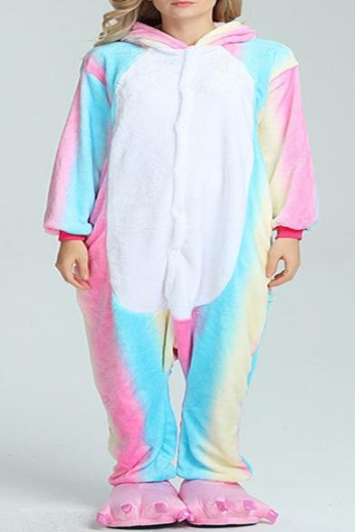 Color Block Blue Pegasus Cosplay Long Sleeve Hooded Onesie Costume Pajamas
