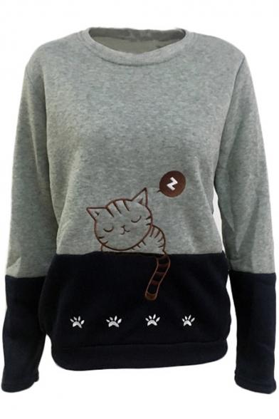 Color Block Cartoon Sleeping Cat Pattern Crewneck Long Sleeve Sweatshirt