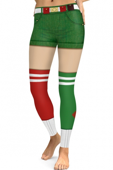 Digital Printed Red and Green Colorblock Stretch Sports Leggings