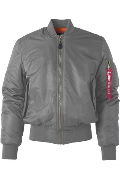 Men's Stand Collar Long Sleeve Retro Zip Up MA-1 Bomber Jacket
