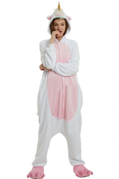 Pink and White Color Block Button Front Pegasus Fleece Onesie Costume Pajamas for Adult