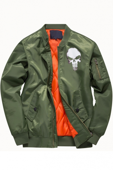 Trendy Skull Logo Printed Long Sleeve Stand Collar Zip Up Bomber Jacket for Juniors