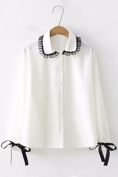 Купить со скидкой Black Lace Trimmed Lapel Collar Bow-Tied Cuff Long Sleeve White Button Down Shirt