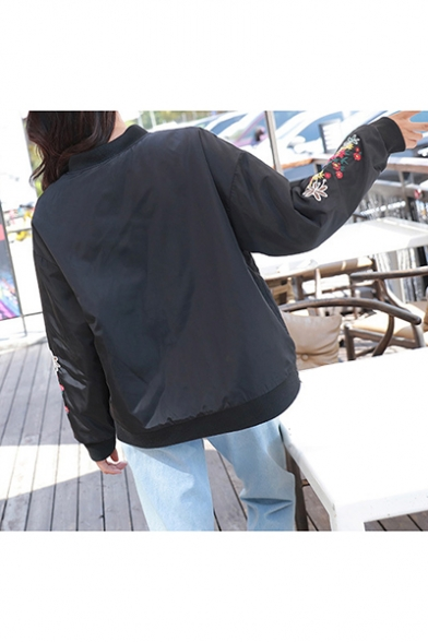 Chic Floral Embroidered Long Sleeve Regular Fitted Zip Up Baseball Jacket