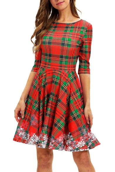 Classic Red and Green Check Printed Half Sleeve Midi A-Line Dress for Women