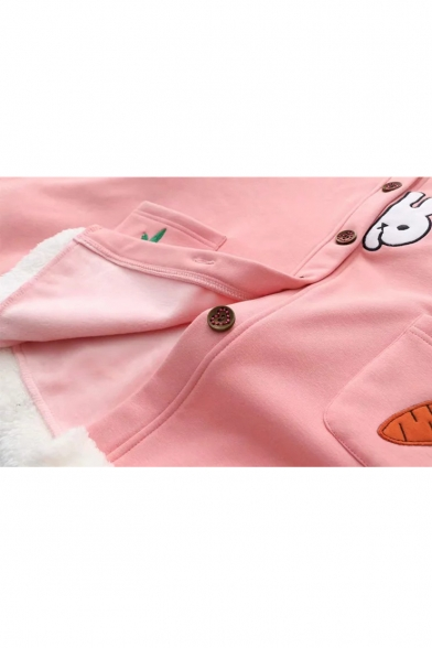Cute Rabbit Carrot Embroidered Long Sleeve Ear Hooded Button Down Cape Coat