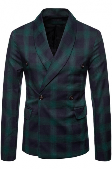 Men's Classic Plaid Pattern Long Sleeve Double Button Front Fitted Blazer Coat