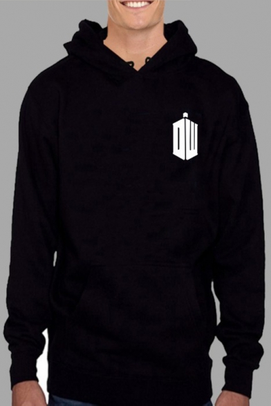 POLICE BOX Letter Printed Back Long Sleeve Unisex Casual Hoodie