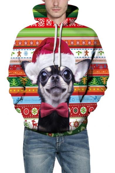 3D Lovely Cartoon Christmas Dog Pattern Long Sleeve Color Block Unisex Hoodie