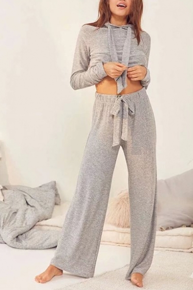 Image of Autumn's New Arrival Cropped Hoodie Loose Pants Sports Yoga Co-ords