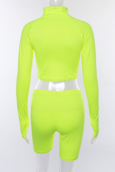 Autumn's New Arrival Fluorescent Color Cropped Top Skinny Shorts Solid Co-ords
