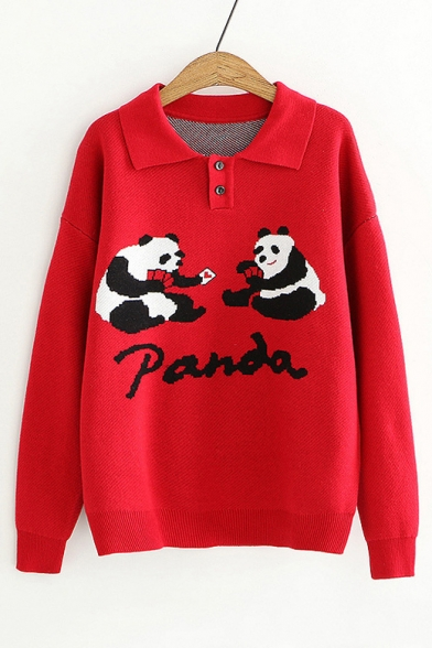 Купить со скидкой Cartoon Funny Panda Print Polo Collar Button Front Long Sleeve Sweater