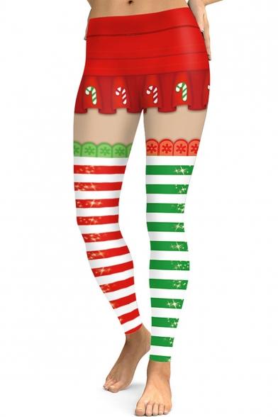 Christmas Red and Green Color Block Elastic Waist Skinny Fit Leggings