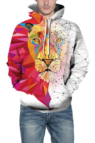 Colorblock Long Sleeve 3D Tiger Pattern White Unisex Hoodie
