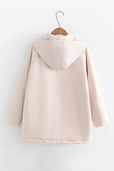 Cute Rabbit Embroidered Long Sleeve Toggle Button Down Hooded Wool Coat