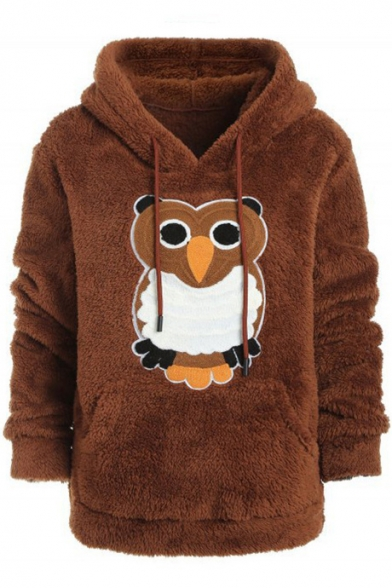 Girls' Cute Owl Printed Long Sleeve Fitted Cashmere Warm Khaki Hoodie