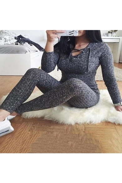 Купить со скидкой Gray Lace-Up Front Long Sleeve Ribbed Knit Slim Fitted Jumpsuits