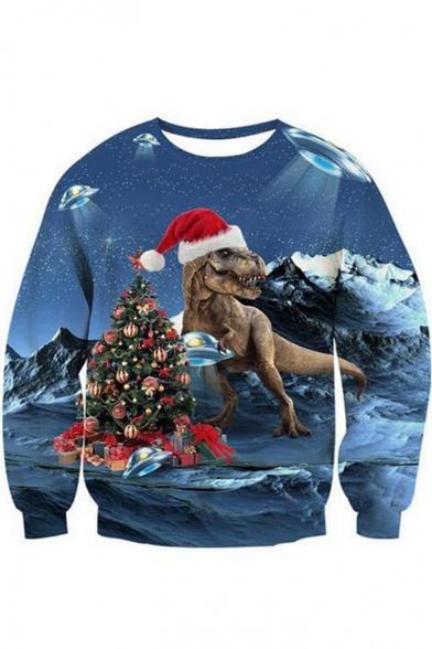 Hot Sale 3D Christmas Dinosaur Printed Round Neck Long Sleeve Blue Sweatshirt, LC492551