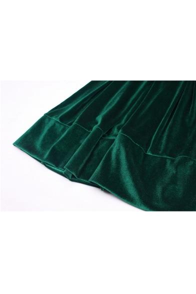 Ladies' Long Sleeve Crewneck Tied Waist Mini A-Line Velvet Dress