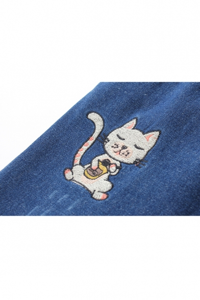 Lovely Cartoon Cat Embroidered Drawstring Elastic Waist Winter's Jeans