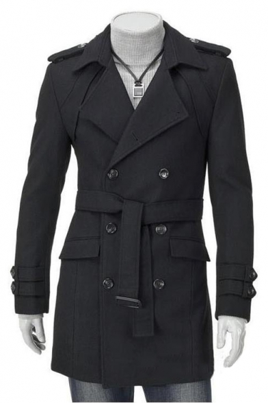 Men's Notched Lapel Collar Long Sleeve Double Breasted Woolen Trench Coat