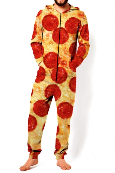 New Fashion 3D Pizza Pattern Long Sleeve Hooded Unisex Jumpsuits with Pocket