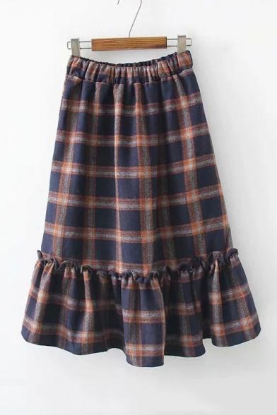 Retro Plaid Printed Elastic Waist Ruffle Hem Midi A-Line Skirt