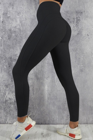 Autumn's New Stylish High Waist Simple Solid Stretch Skinny Yoga Leggings
