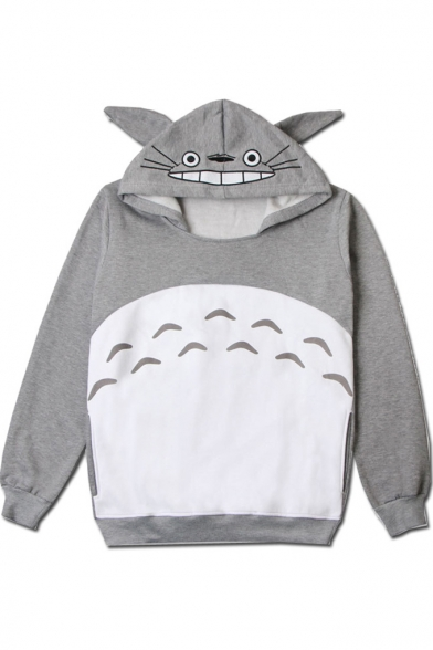 Cartoon Comic Totoro Pattern Color Block Long Sleeve Gray Hoodie for Couple