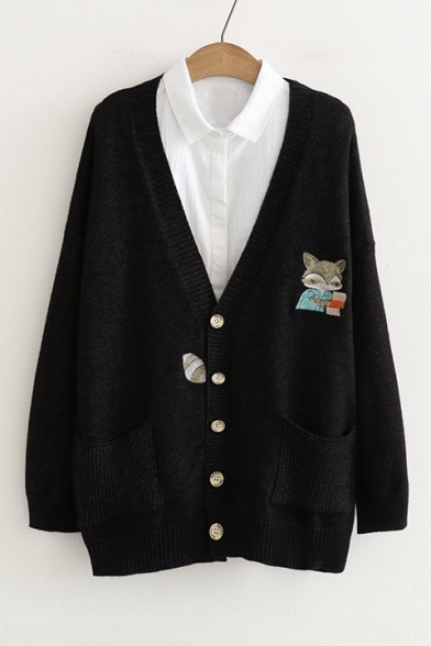 Cartoon Fox Embroidered Long Sleeve Button Front Cardigan with Double Pockets, LC490671, Black;chocolate;beige