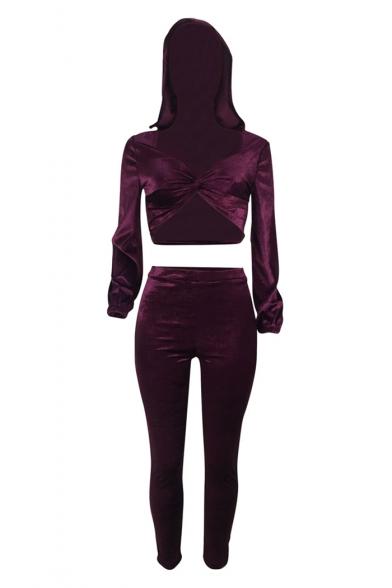 Chic Twist Front Hooded Long Sleeve Top Skinny Fit Pants Velvet Purple Co-ords