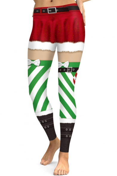 Christmas Red and Green Color Block Elastic Waist Stretch Yoga Leggings