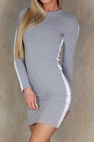Fashion Striped Side Crewneck Long Sleeve Women's Sexy Mini Bodycon Dress