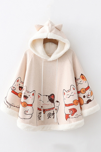 Lovely Cartoon Lucky Cat Pattern Long Sleeve Casual Cape Coat for Juniors