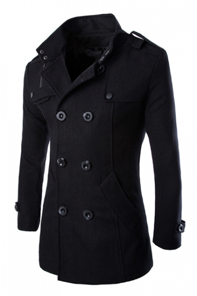 Men's Long Sleeve Stand Collar Double Breasted Fitted Wool Peacoat