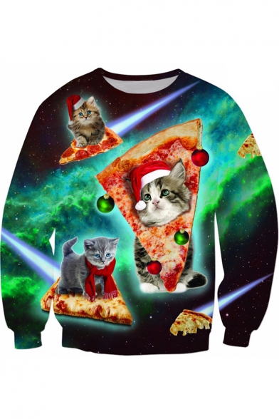New Fashion 3D Pizza Cat Pattern Round Neck Long Sleeve Pullover Sweatshirt