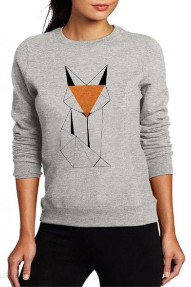 New Fashion Geometric Fox Pattern Crewneck Long Sleeve Fit Gray Sweatshirt