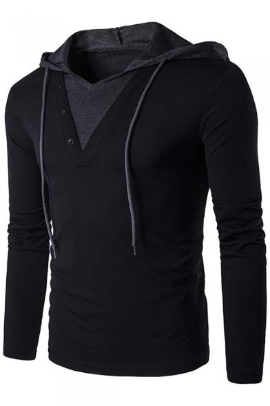 Купить со скидкой New Stylish Colorblock Two-Tone Long Sleeve Hooded Slim Fitted T-Shirt for Men