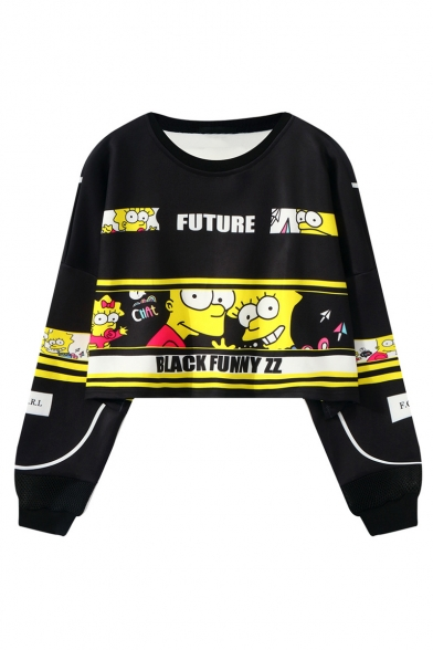 New Trendy Cartoon Character Printed Long Sleeve Round Neck Sweatshirt