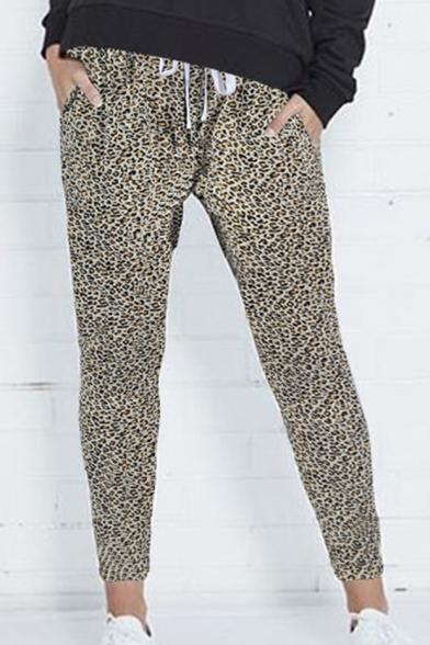 Vintage Leopard Printed Drawstring Waist Leisure Pants