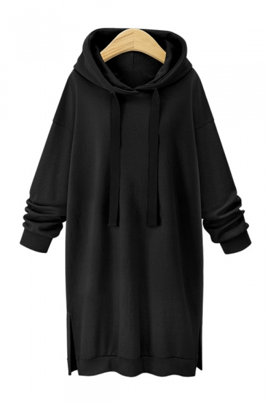 Winter's New Arrival Chic Basic Solid Loose Fitted Midi Shift Hoodie Dress