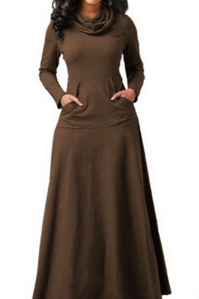 Winter's New Arrival Long Sleeve Cowl Neck Plain Maxi A-Line Dress