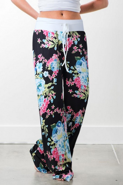 Купить со скидкой Women's Fancy Floral Pattern Tied Waist Loose Fitted Casual Pants for Women